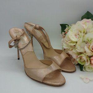 Blush Shimmer Suede Chain Detail Sandals